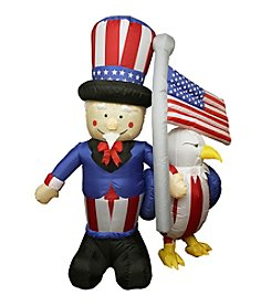 6' Inflatable Lighted Uncle Sam with American Flag and Eagle Yard Decoration