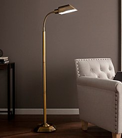Southern Enterprises OttLite Honey Brass Felton Task Floor Lamp