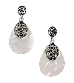 Marsala Silver Plated Marcasite & Mother Of Pearl Teardrop Earrings