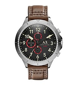 A|X Armani Exchange Men's Silvertone Stainless Steel And Brown Leather Watch