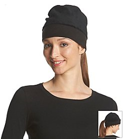 Isotoner Signature® Teddy Pull On Hat with Fleece Band and Ponytail Opening