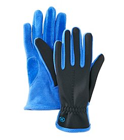 Isotoner Signature® Spandex Fleece Gloves With With Contrast Stitch