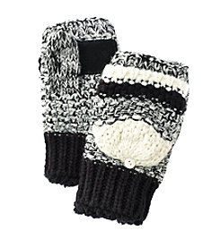 Isotoner Signature® Striped Popcorn Stitch Flip Top Gloves With Suede Palm Patch