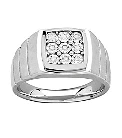 Men's .10 Ct. T.W. Diamond Ring In Sterling Silver