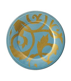 Rachael Ray Gold Scroll Aqua Blue Collection