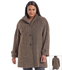Jones New York® Plus Size Raglan Sleeve Tweed Coat