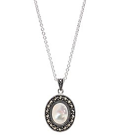 Marsala Silver Plated Marcasite Mother of Pearl Oval Pendant
