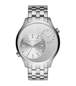A|X Armani Exchange Men's Silvertone Stainless Steel Watch With Dual Time