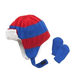 Mambo® Baby Boys Striped Bomber Hat With Mittens