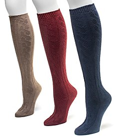 MUK LUKS Women's 3-Pack Microfiber Knee-High Socks