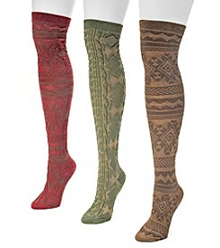 MUK LUKS Women's 3-Pair Microfiber Over-the-Knee Socks
