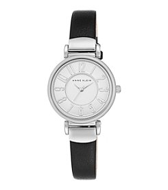 Anne Klein® Silvertone and Black Leather Strap Watch