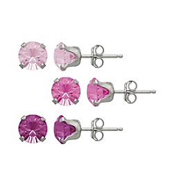 Impressions® Sterling Silver Earring Pink Swarovski Crystals