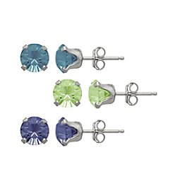 Impressions® Sterling Silver Earring Three Piece Box Set in Sky Blue, Purple and Spring Green Swarovski Crystals