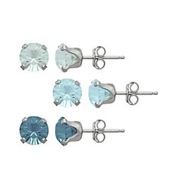 Impressions® Sterling Silver Earring Three Piece Box Set in Shades of Blue Swarovski Crystals