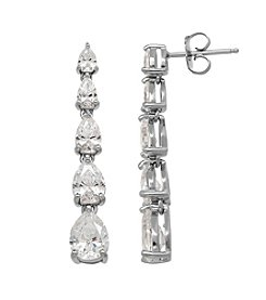 Balentino® Sterling Silver White Swarovski Cubic Zirconia Pear Shaped Drop Earrings