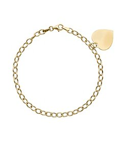 Heart Drop Bracelet In 10K Yellow Gold