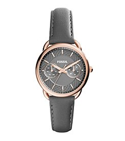 Fossil® Women's Tailor Watch In Rose Goldtone With Gray Leather Strap And Gunmetal Dial