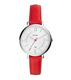 Fossil® Women's Jacqueline Watch in Silvertone with Red Leather Strap
