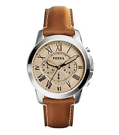 Fossil® Men's Grant Watch In Silvertone With Light Brown Leather Strap And Beige Dial