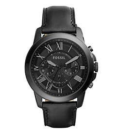 Fossil® Men's 44mm Blacktone Grant Watch with Black Leather Strap
