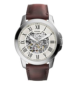 Fossil® Men's 45mm Silvertone Grant Automatic Watch with Dark Brown Leather Strap
