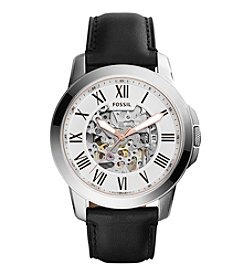 Fossil® Men's Grant Automatic Watch in Silvertone with Black Leather Strap