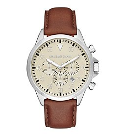 Michael Kors® Silvertone Stainless Steel Gage Watch With An Egg Shell Color Dial And Chocolate Leather Strap