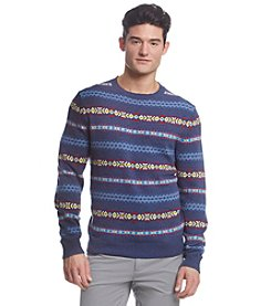 Le Tigre Men's Long Sleeve Crew Neck Allover Fair Isle Sweater