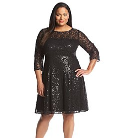 S.L. Fashions Plus Size Lace Sequin Party Dress