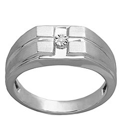 Men's Square Top Ring In Sterling Silver