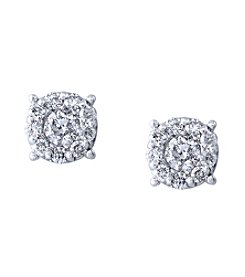 Effy® Bouquet Collection .93 Ct Diamond Cluster Earrings In 14k White Gold
