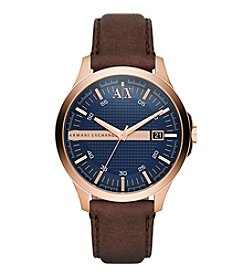 A|X Armani Exchange Men's Rose Goldtone Brushed Stainless Steel And Two Piece Leather Strap Watch