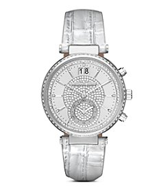 Michael Kors® Women's Silvertone Stainless Steel Sawyer Watch with Metallic Croco Leather Strap