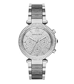 Michael Kors® Women's Silvertone Parker Watch with Grey Glitter Acetate Links and Pave Dial