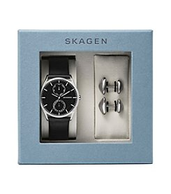 Skagen Men's Holst Watch Box Set in Silvertone with Black Leather Strap with Silvertone Cuff Links