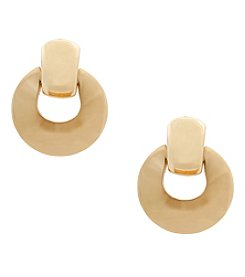 Erica Lyons® Goldtone Doorknocker Clip Earrings