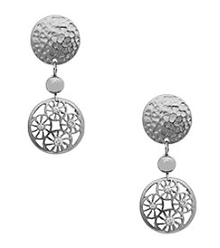 Erica Lyons® Silvertone  Filigree Disk Drop Clip Earrings