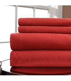 Elite Home Products Winter Nights Solid 160 GSM Flannel Sheet Set