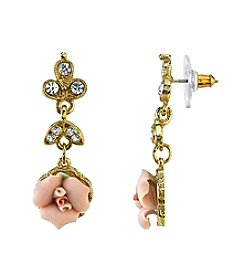 Downton Abbey® Boxed Goldtone Pink Porcelain Rose and Crystal Drop Earrings