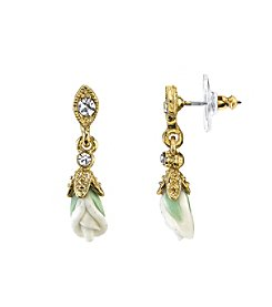 Downton Abbey® Carded Goldtone Closed White Porcelain Rose Drop Earrings