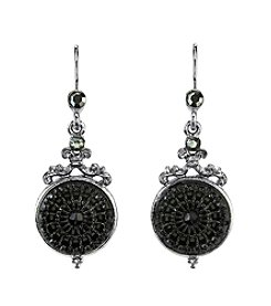 Downton Abbey® Boxed Silvertone Engraved Black Stone Drop Wire Earrings