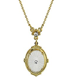 Downton Abbey® Boxed Goldtone Frosted Lalique-Inspired Oval Pendant Necklace