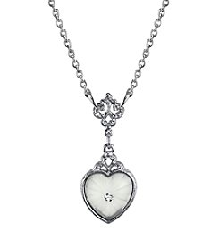 Downton Abbey® Carded Silvertone Frosted Lalique-Inspired Heart-Shaped Necklace