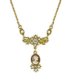 Downton Abbey® Boxed Goldtone Oval Cameo Drop with Crystal Necklace