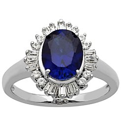 Lab Created Blue And White Sapphire Ring In Sterling Silver