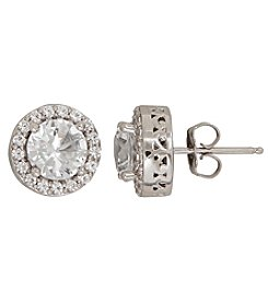 White Sapphire Earrings In Sterling Silver