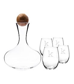 Cathy's Concepts 67-oz. Large Wine Decanter with Wood Stopper With 4 Personalized Glasses Set