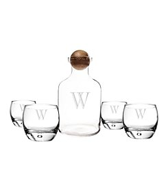 Cathy's Concepts Personalized Glass Whiskey Decanter with Wood Stopper Set
