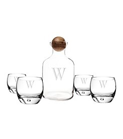 Cathy's Concepts Personalized Glass Scotch Decanter with Wood Stopper Set